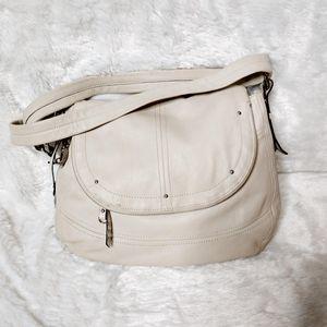 B. Makowsky Cream Leather Flap Crossbody Bag